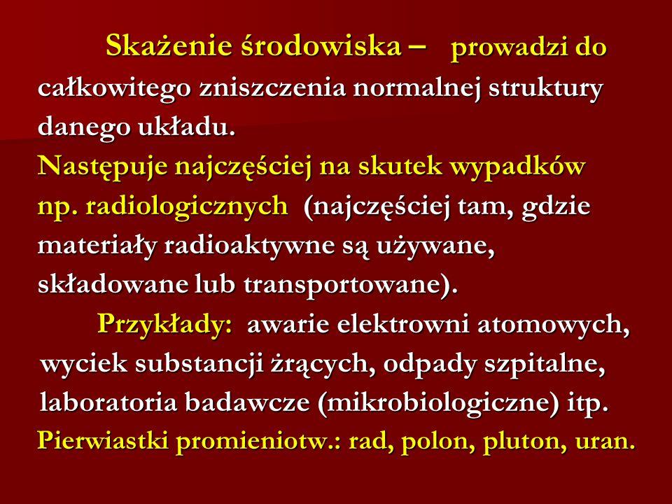 Pierwiastki promieniotw.: rad, polon, pluton, uran.