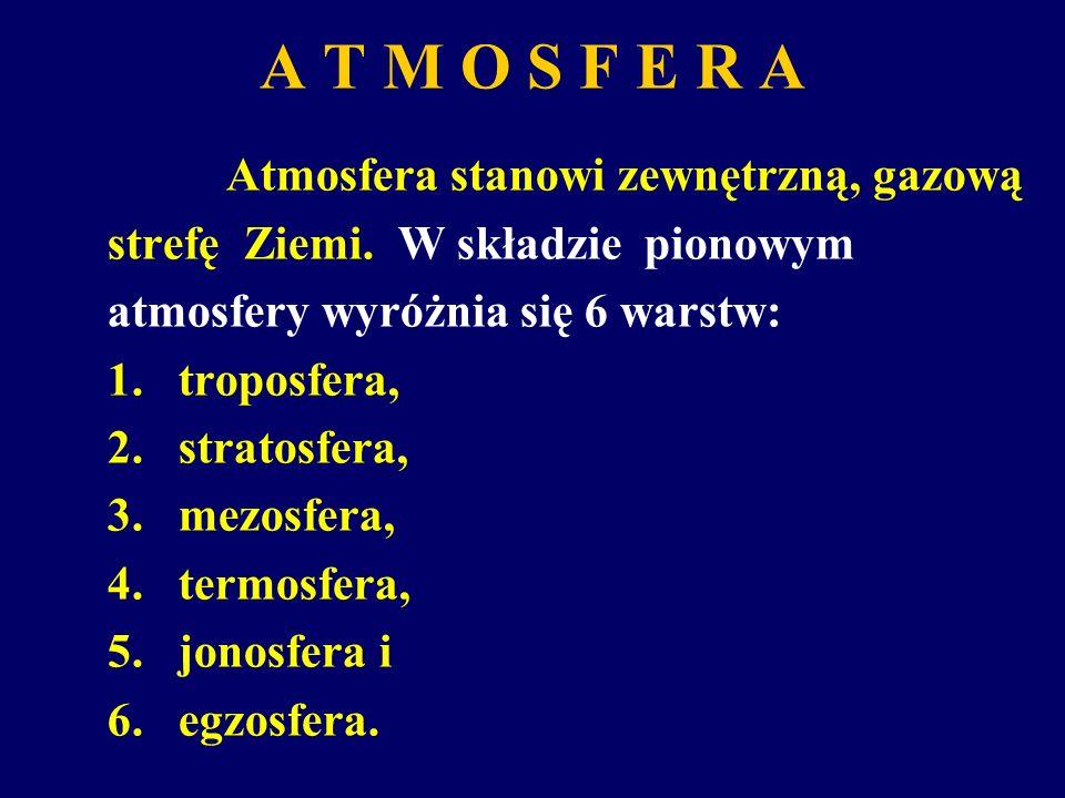 A T M O S F E R A Atmosfera stanowi zewnętrzną, gazową