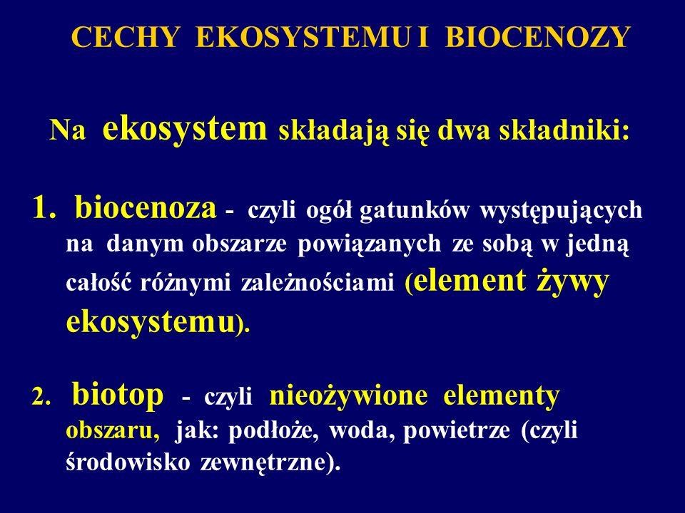 CECHY EKOSYSTEMU I BIOCENOZY Na ekosystem składają się dwa składniki: