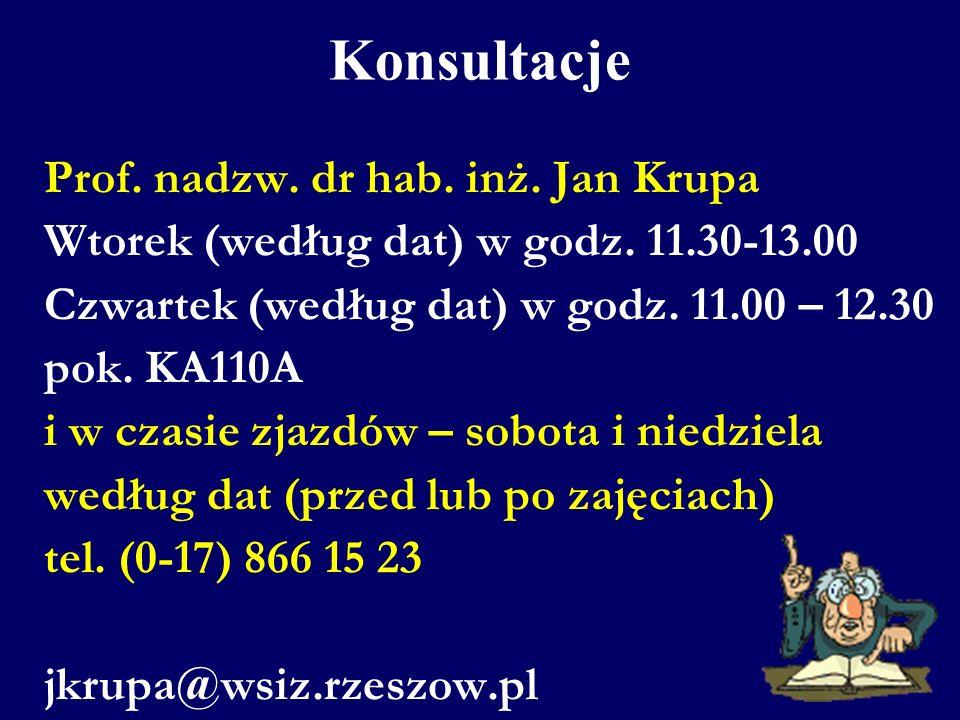 Konsultacje Prof. nadzw. dr hab. inż. Jan Krupa