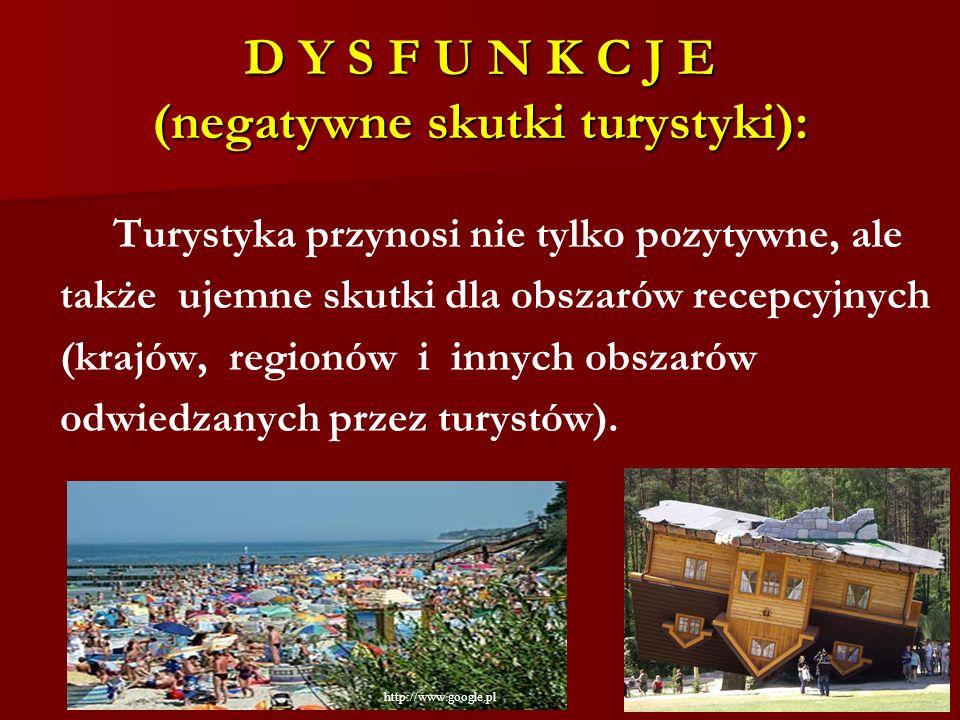 D Y S F U N K C J E (negatywne skutki turystyki):