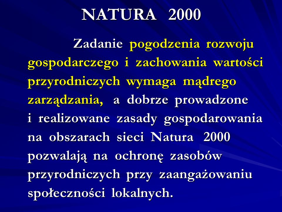 NATURA 2000 gospodarczego i zachowania wartości