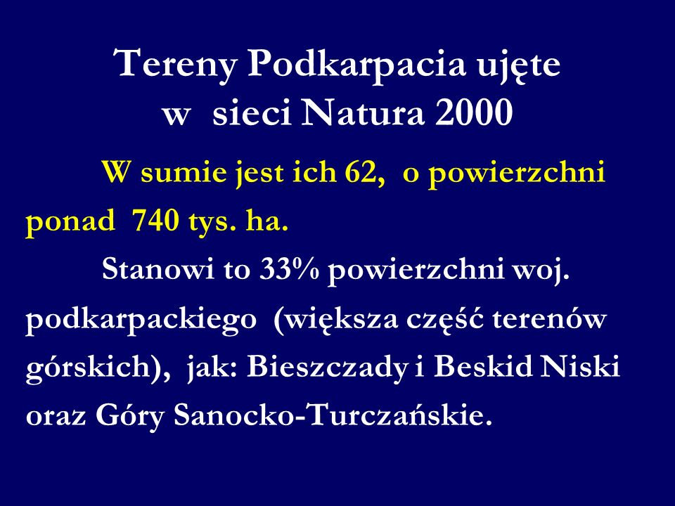 Tereny Podkarpacia ujęte w sieci Natura 2000