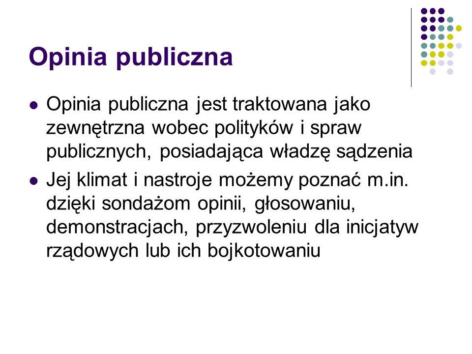 Opinia publiczna Opinia publiczna jest traktowana jako zewnętrzna wobec polityków i spraw publicznych, posiadająca władzę sądzenia.