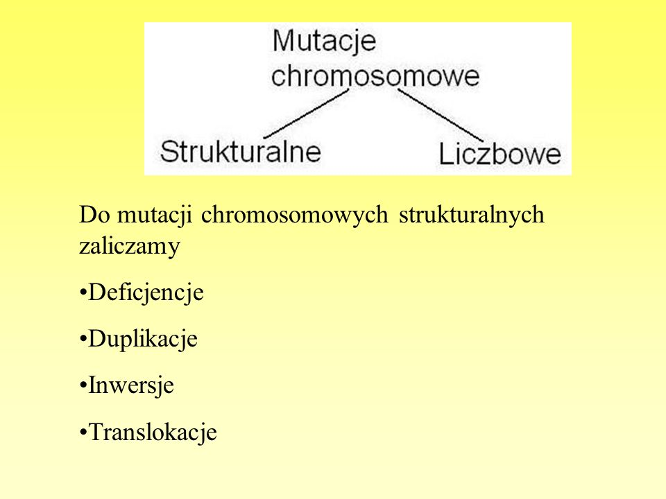 Do mutacji chromosomowych strukturalnych zaliczamy