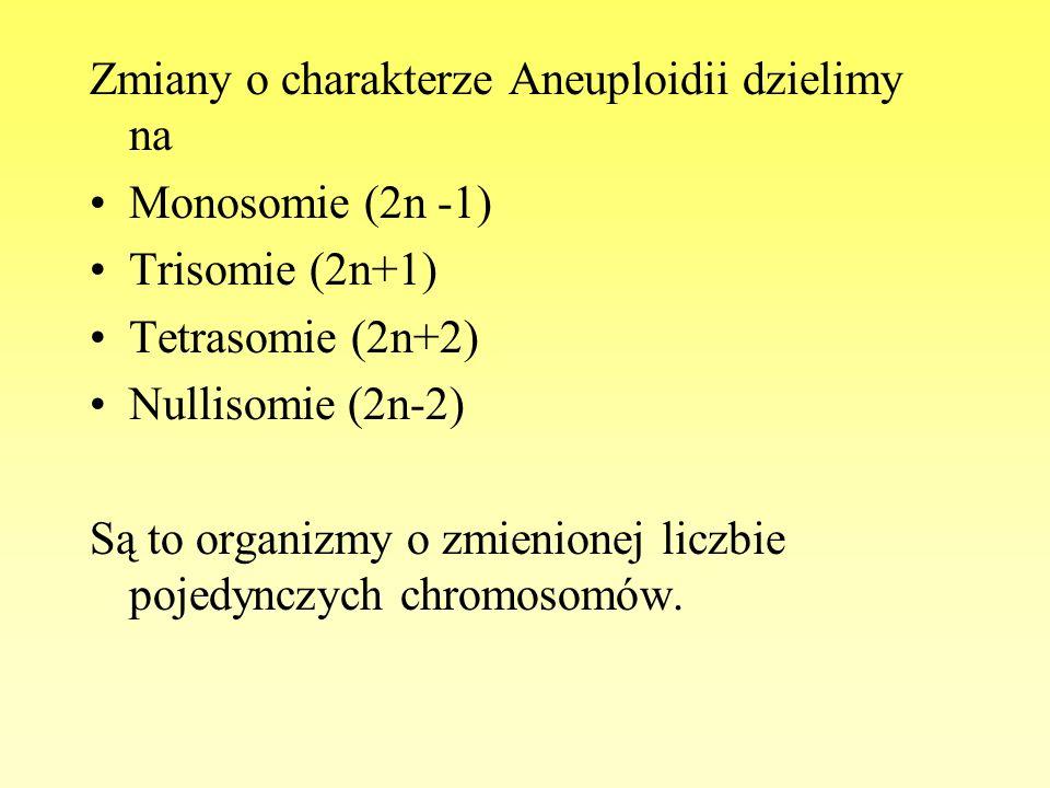 Zmiany o charakterze Aneuploidii dzielimy na