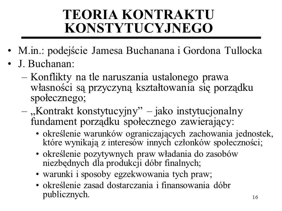 TEORIA KONTRAKTU KONSTYTUCYJNEGO