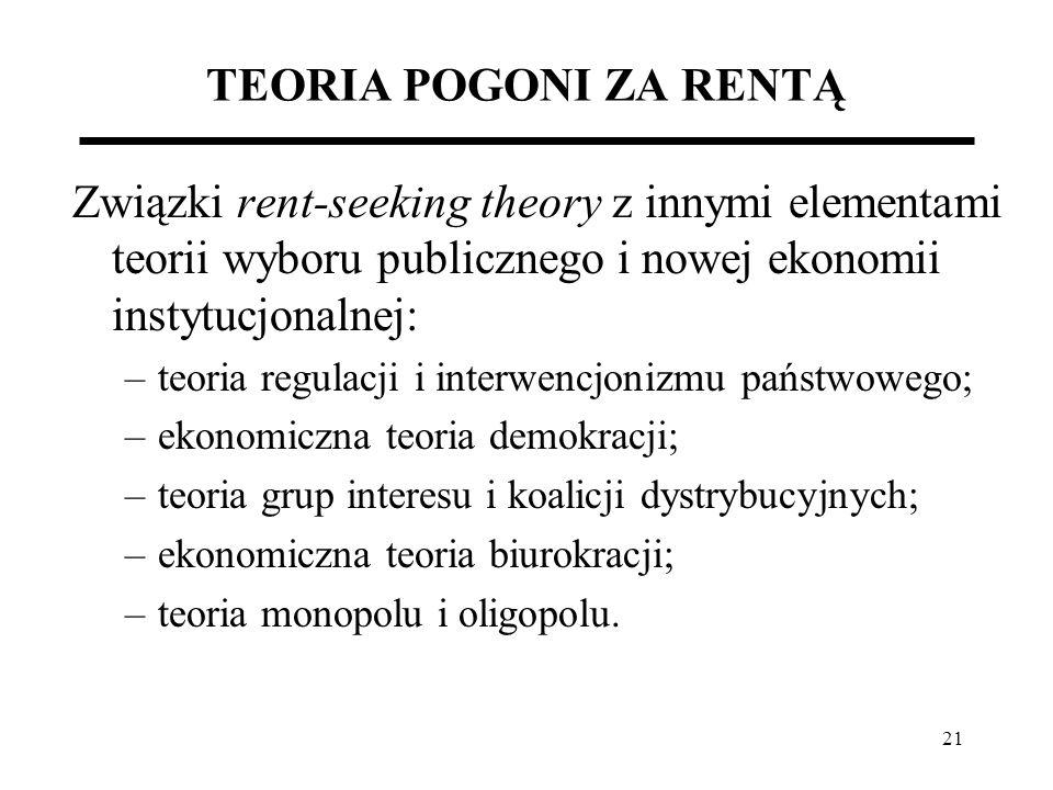 TEORIA POGONI ZA RENTĄ Związki rent-seeking theory z innymi elementami teorii wyboru publicznego i nowej ekonomii instytucjonalnej: