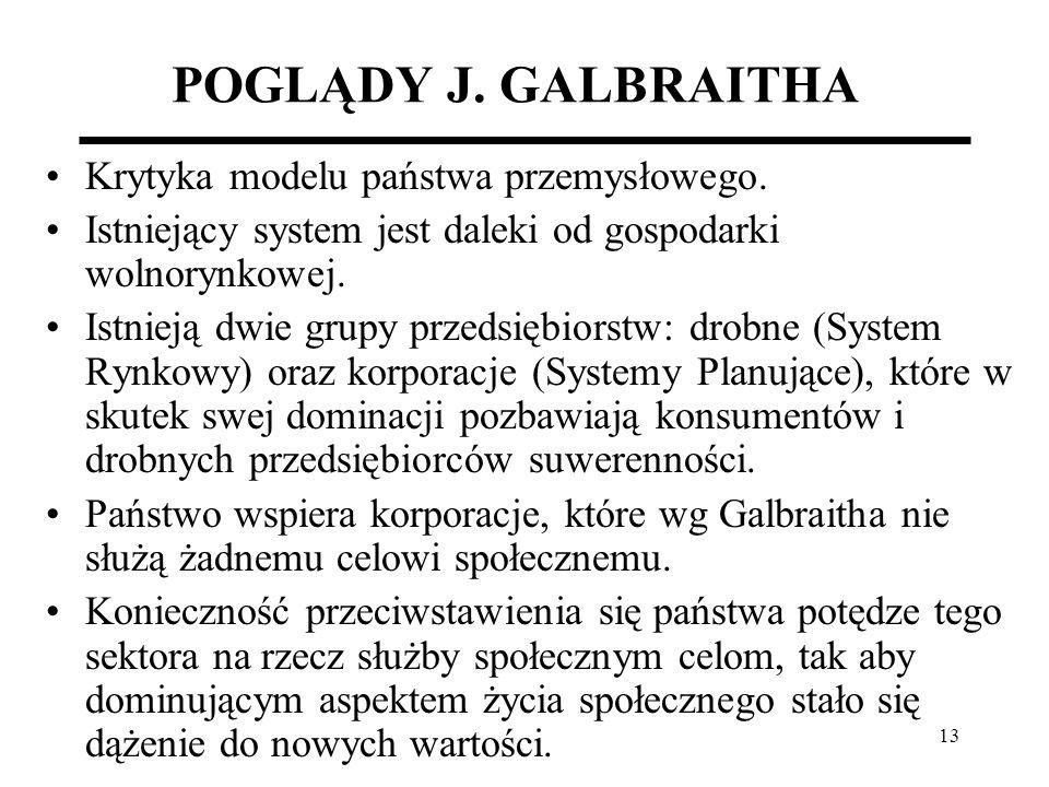 POGLĄDY J. GALBRAITHA Krytyka modelu państwa przemysłowego.