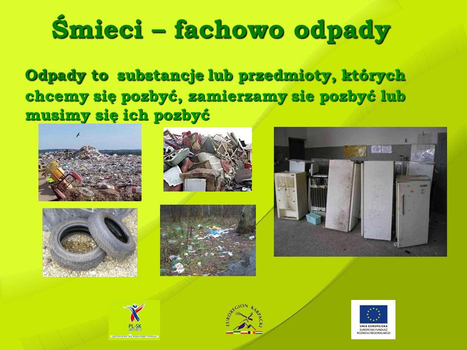 Śmieci – fachowo odpady Odpady to substancje lub przedmioty, których chcemy się pozbyć, zamierzamy sie pozbyć lub musimy się ich pozbyć