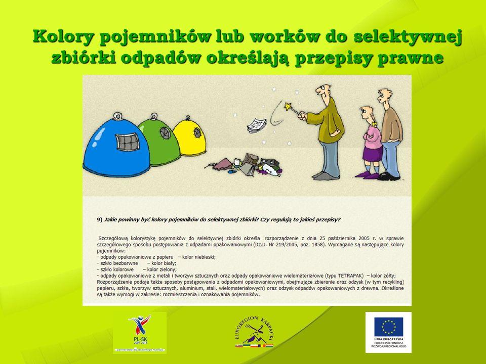 Kolory pojemników lub worków do selektywnej zbiórki odpadów określają przepisy prawne