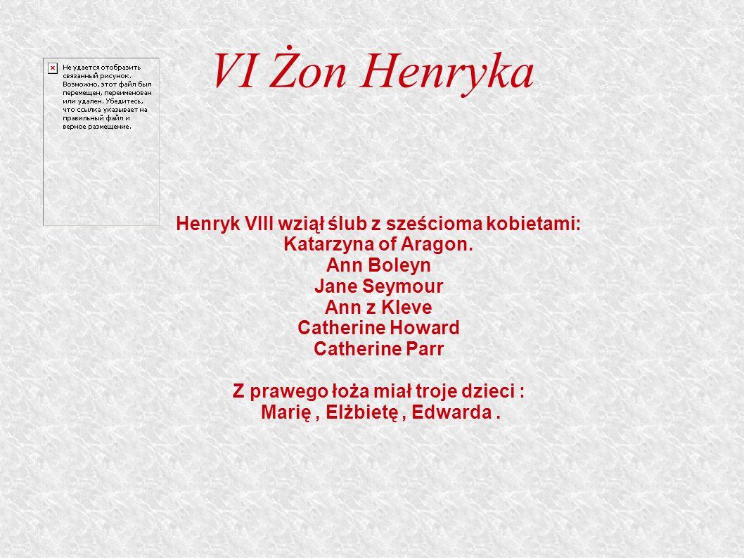VI Żon Henryka Henryk VIII wziął ślub z sześcioma kobietami: