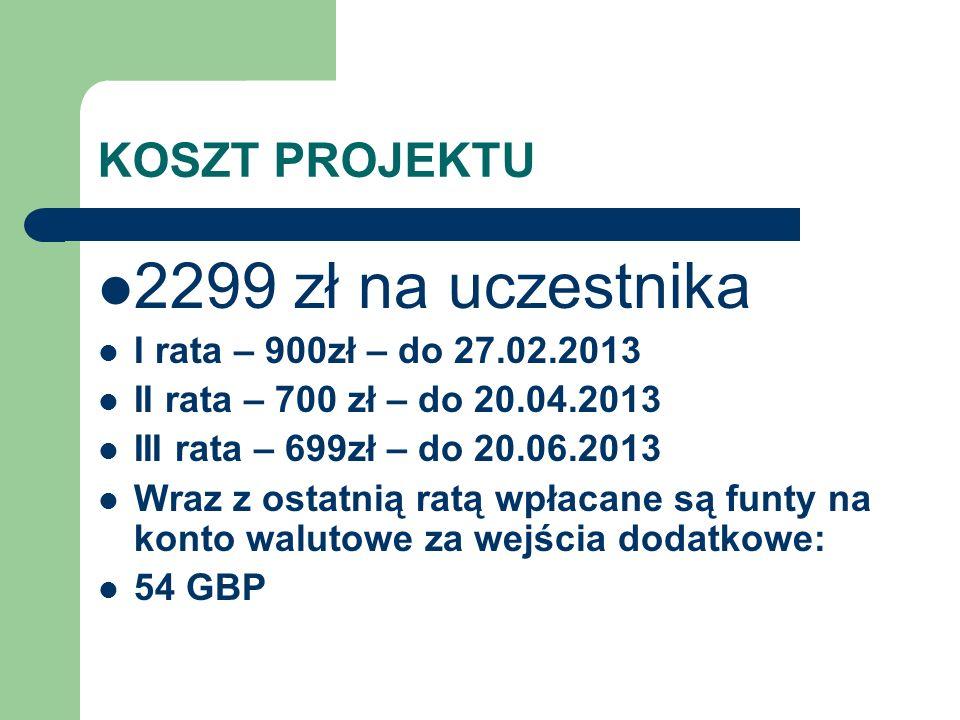 2299 zł na uczestnika KOSZT PROJEKTU I rata – 900zł – do 27.02.2013