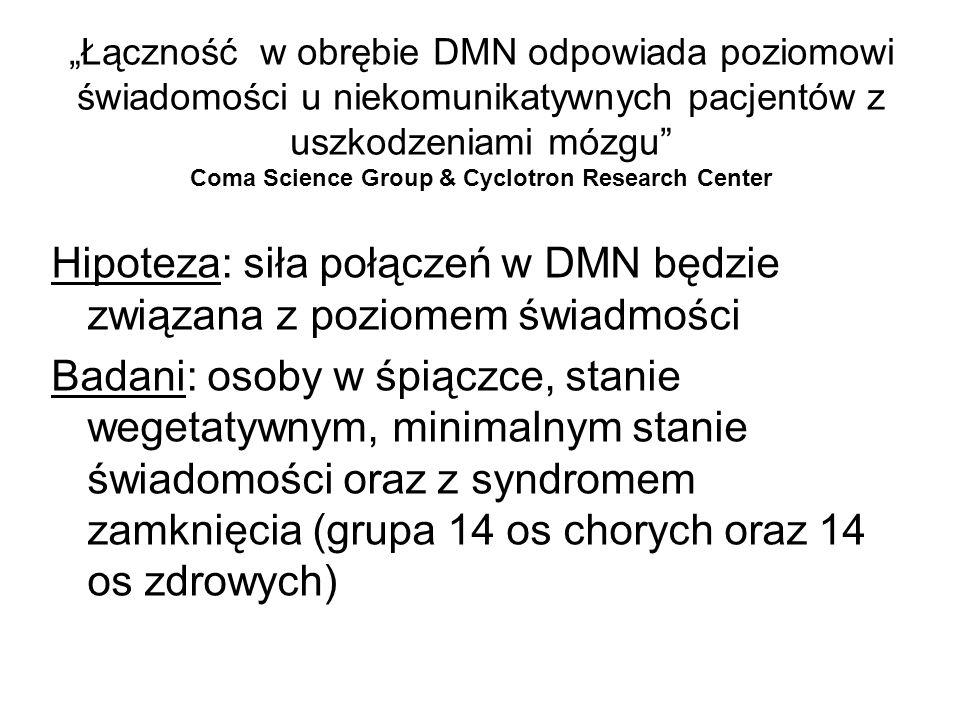 Hipoteza: siła połączeń w DMN będzie związana z poziomem świadmości