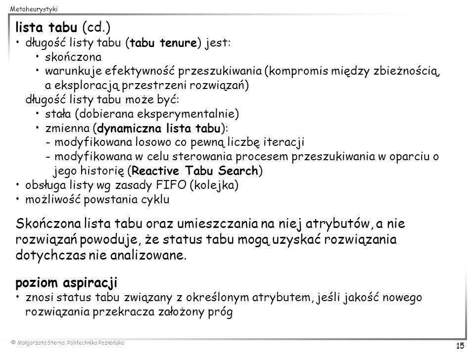 Skończona lista tabu oraz umieszczania na niej atrybutów, a nie