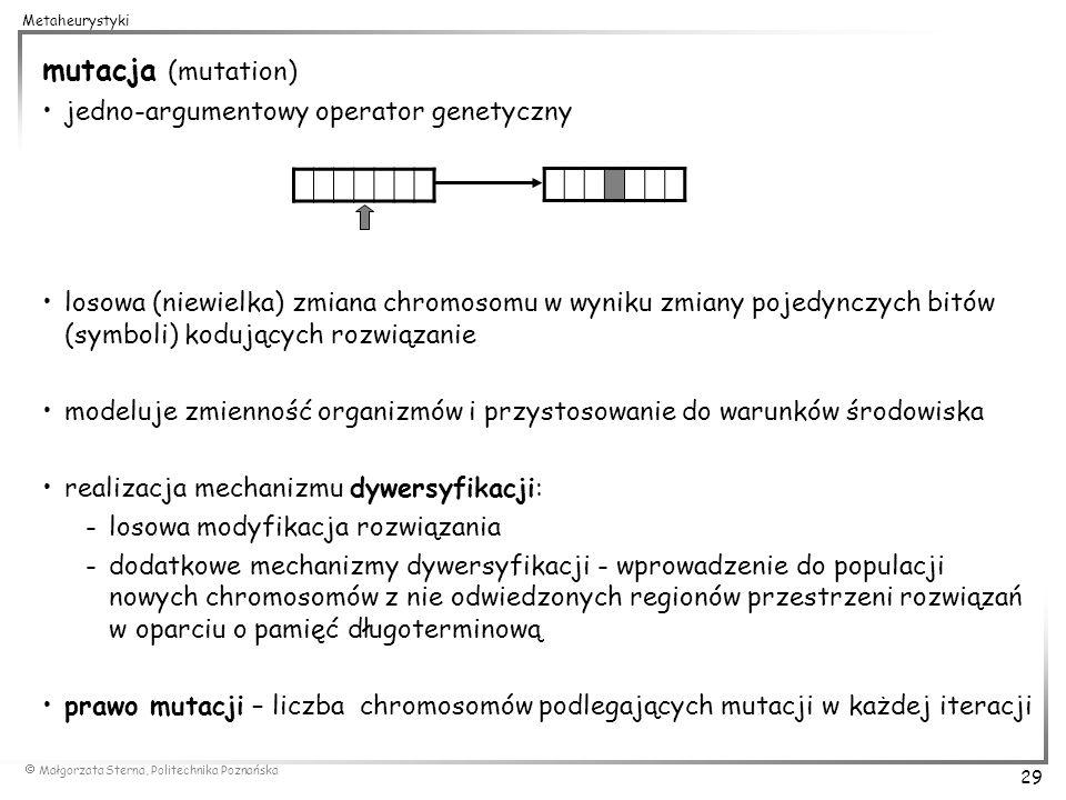mutacja (mutation) jedno-argumentowy operator genetyczny