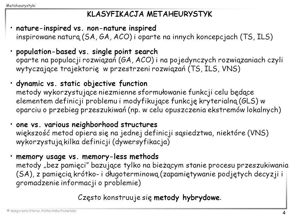 KLASYFIKACJA METAHEURYSTYK