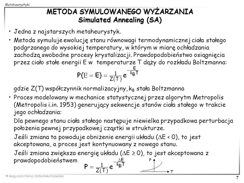 METODA SYMULOWANEGO WYŻARZANIA Simulated Annealing (SA)