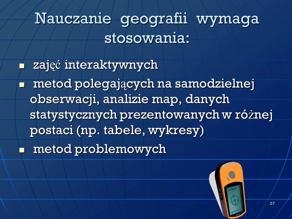 Nauczanie geografii wymaga stosowania: