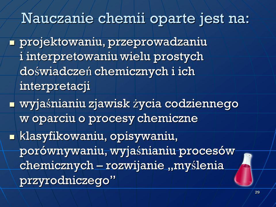 Nauczanie chemii oparte jest na: