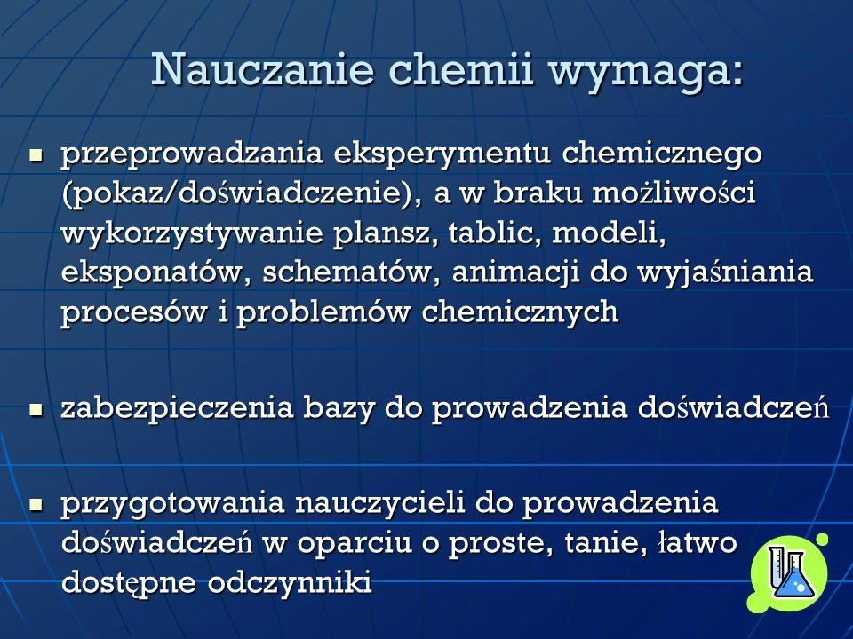 Nauczanie chemii wymaga: