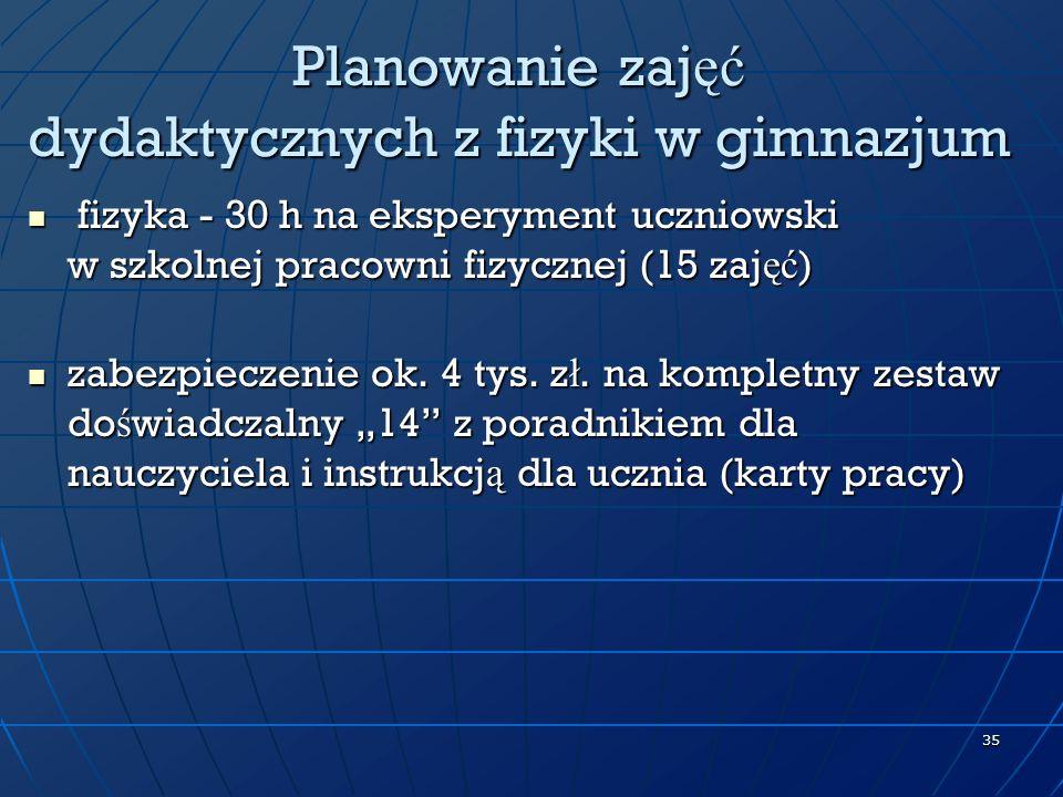Planowanie zajęć dydaktycznych z fizyki w gimnazjum