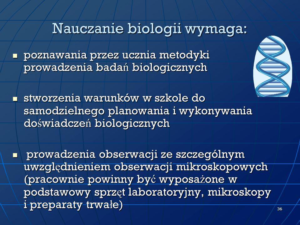 Nauczanie biologii wymaga: