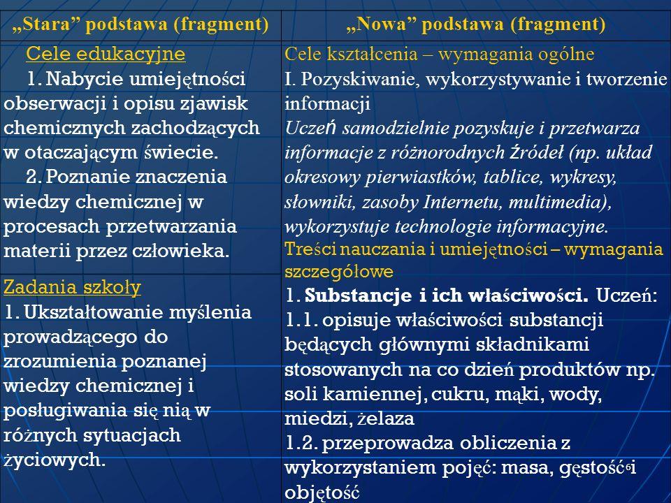 """""""Stara podstawa (fragment) """"Nowa podstawa (fragment)"""