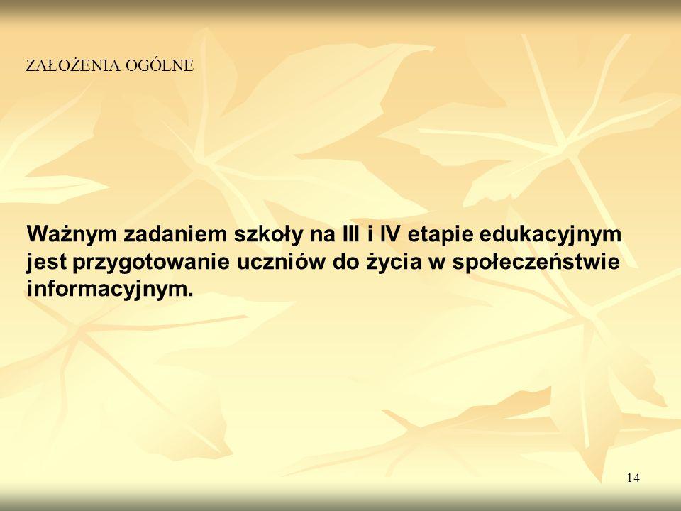 Ważnym zadaniem szkoły na III i IV etapie edukacyjnym