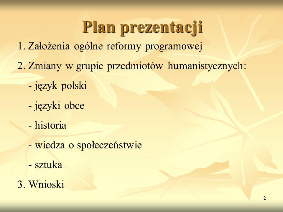 Plan prezentacji Założenia ogólne reformy programowej
