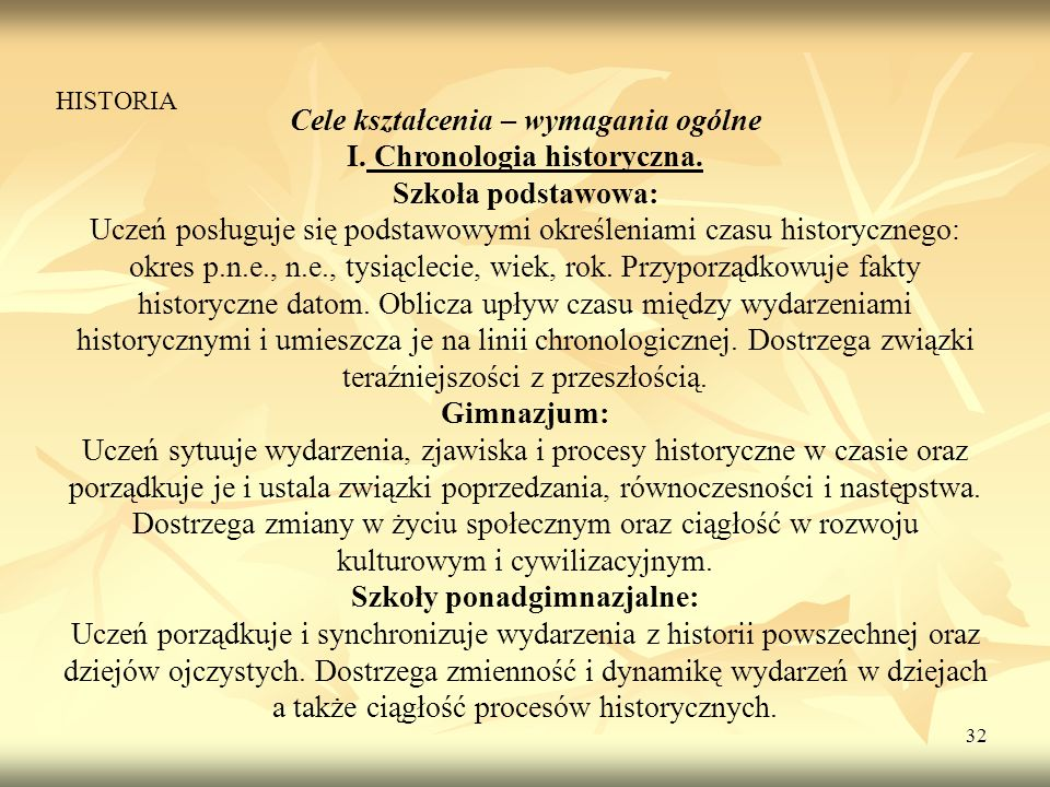 Cele kształcenia – wymagania ogólne I. Chronologia historyczna.