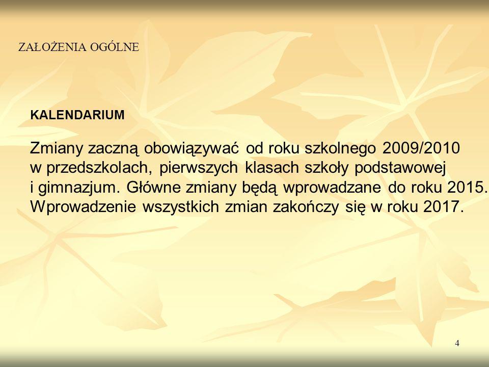 Zmiany zaczną obowiązywać od roku szkolnego 2009/2010