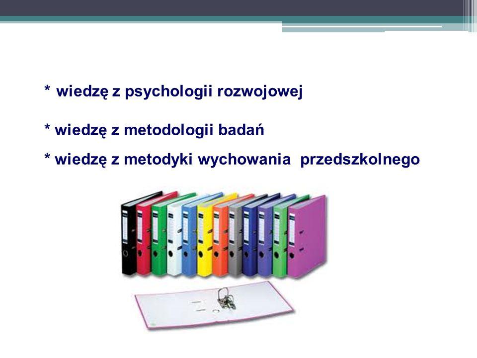 wiedzę z psychologii rozwojowej. wiedzę z metodologii badań