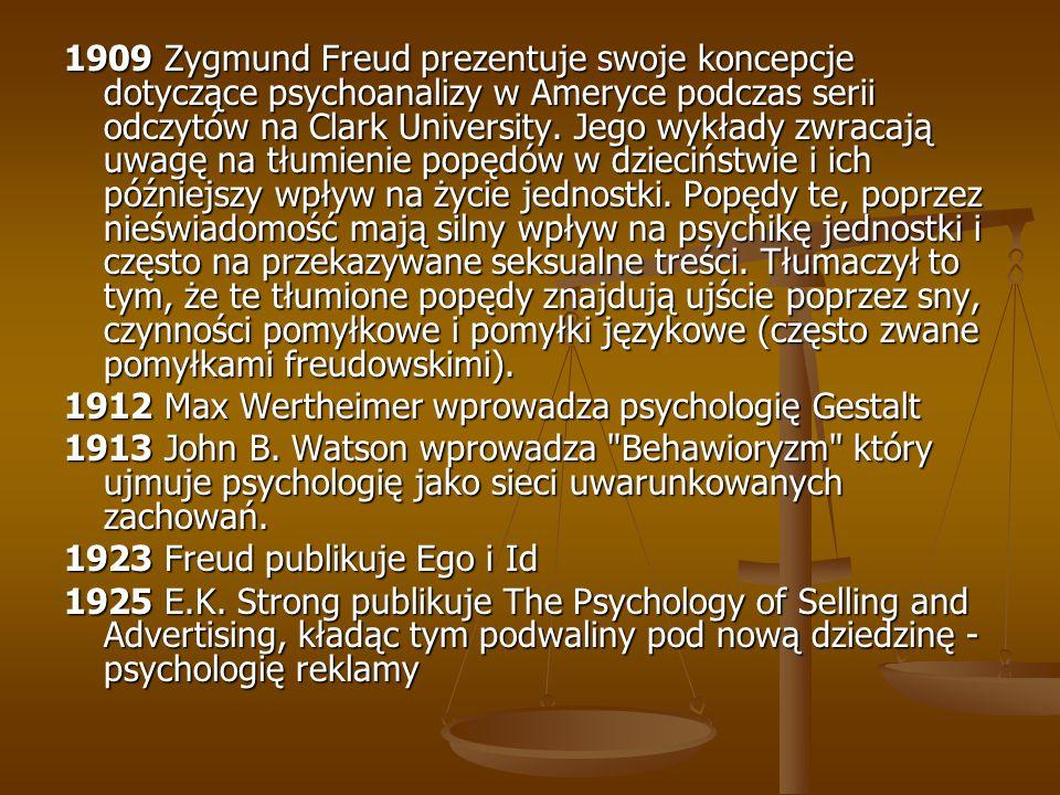 1909 Zygmund Freud prezentuje swoje koncepcje dotyczące psychoanalizy w Ameryce podczas serii odczytów na Clark University. Jego wykłady zwracają uwagę na tłumienie popędów w dzieciństwie i ich późniejszy wpływ na życie jednostki. Popędy te, poprzez nieświadomość mają silny wpływ na psychikę jednostki i często na przekazywane seksualne treści. Tłumaczył to tym, że te tłumione popędy znajdują ujście poprzez sny, czynności pomyłkowe i pomyłki językowe (często zwane pomyłkami freudowskimi).