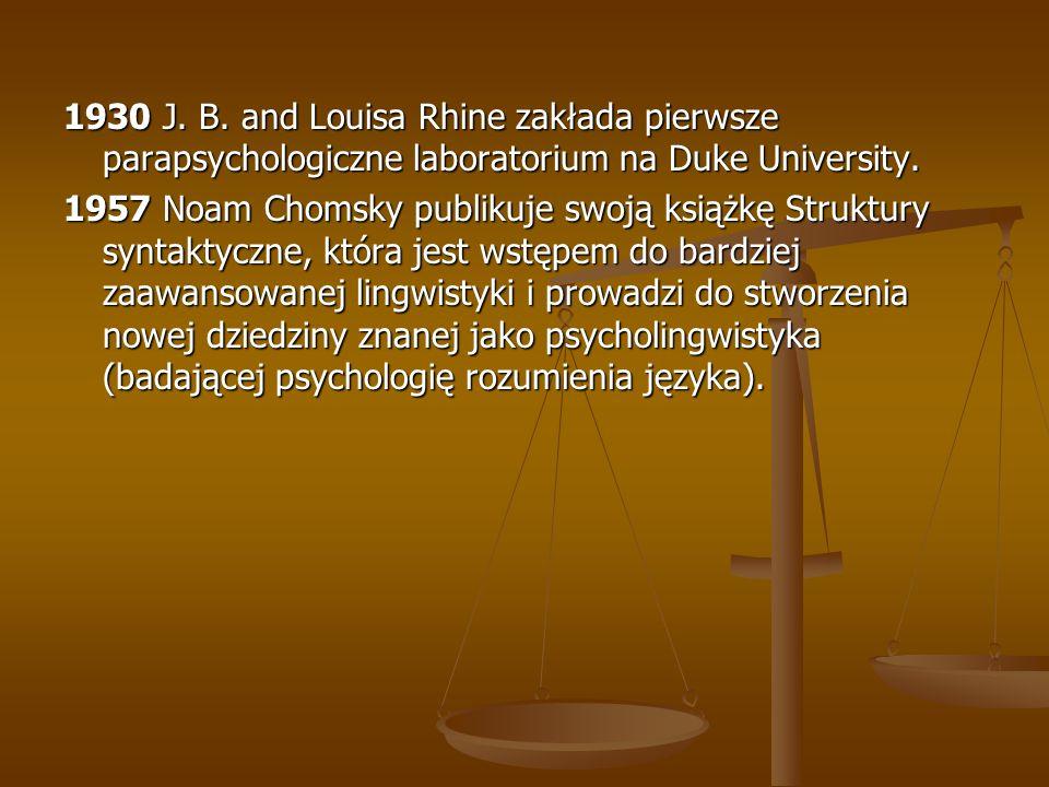 1930 J. B. and Louisa Rhine zakłada pierwsze parapsychologiczne laboratorium na Duke University.