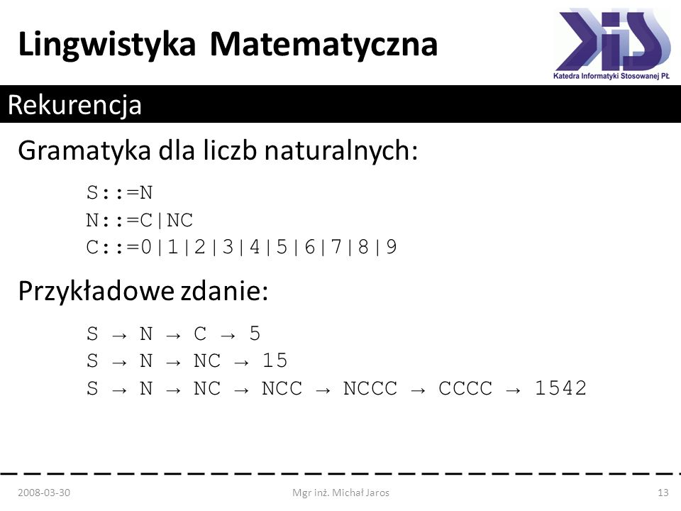 Gramatyka dla liczb naturalnych:
