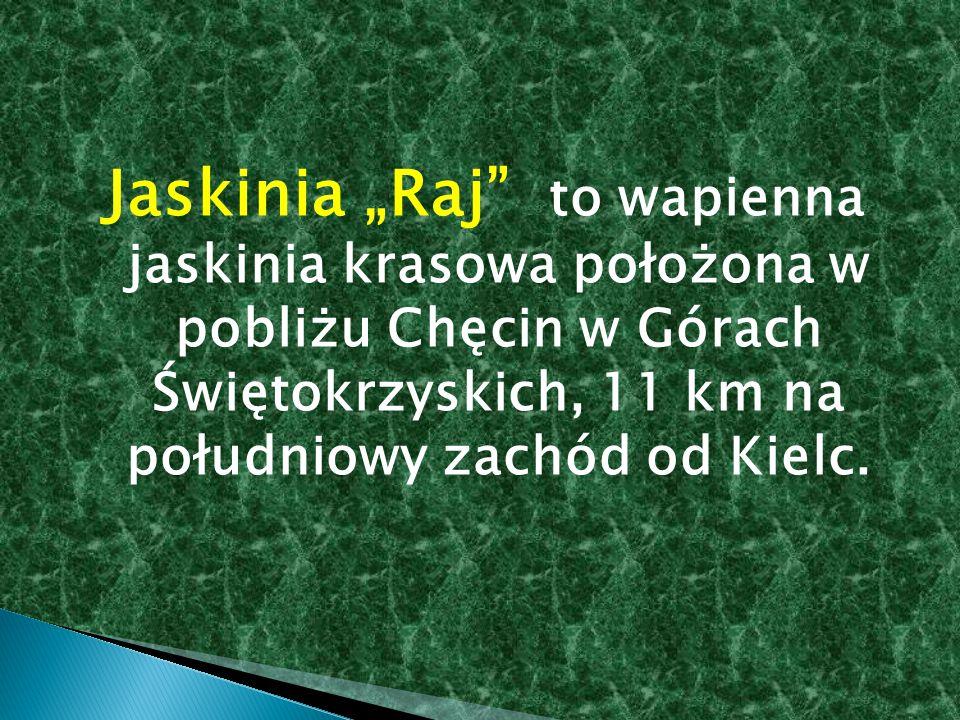 """Jaskinia """"Raj to wapienna jaskinia krasowa położona w pobliżu Chęcin w Górach Świętokrzyskich, 11 km na południowy zachód od Kielc."""