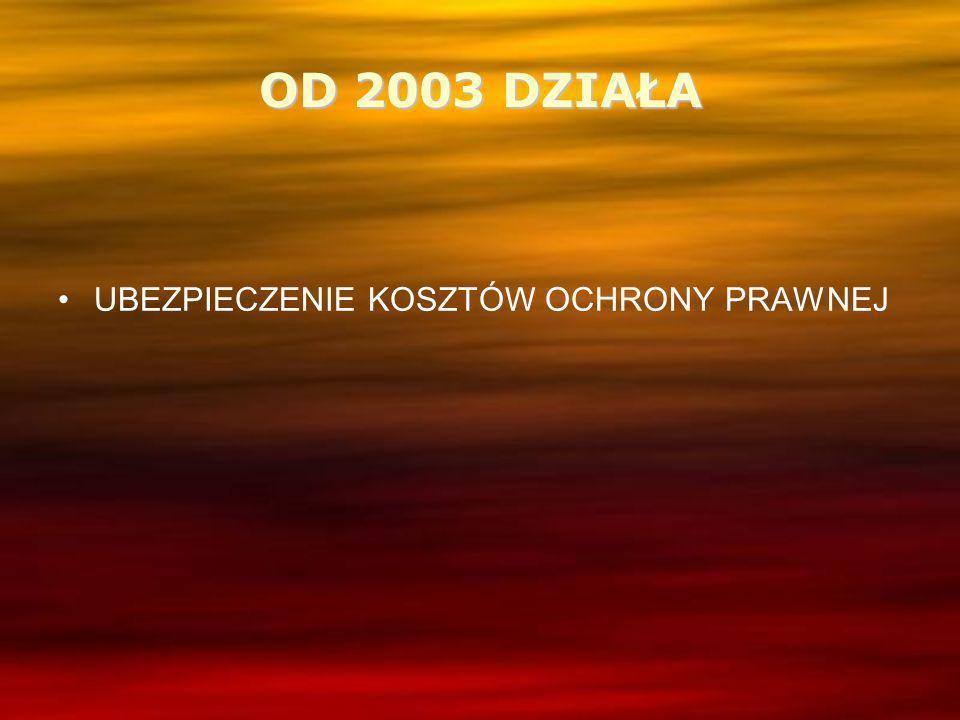 OD 2003 DZIAŁA UBEZPIECZENIE KOSZTÓW OCHRONY PRAWNEJ