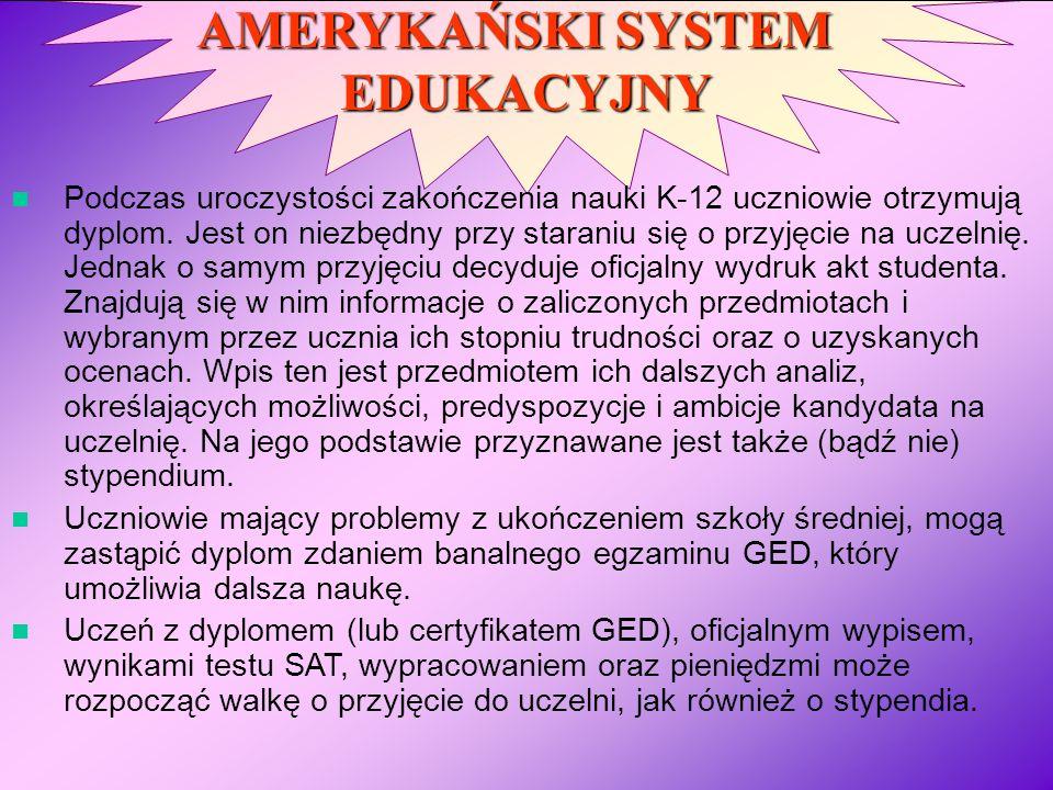 AMERYKAŃSKI SYSTEM EDUKACYJNY