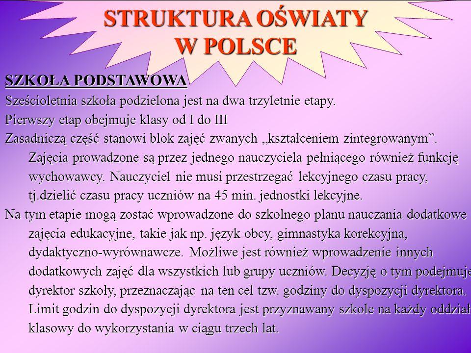STRUKTURA OŚWIATY W POLSCE