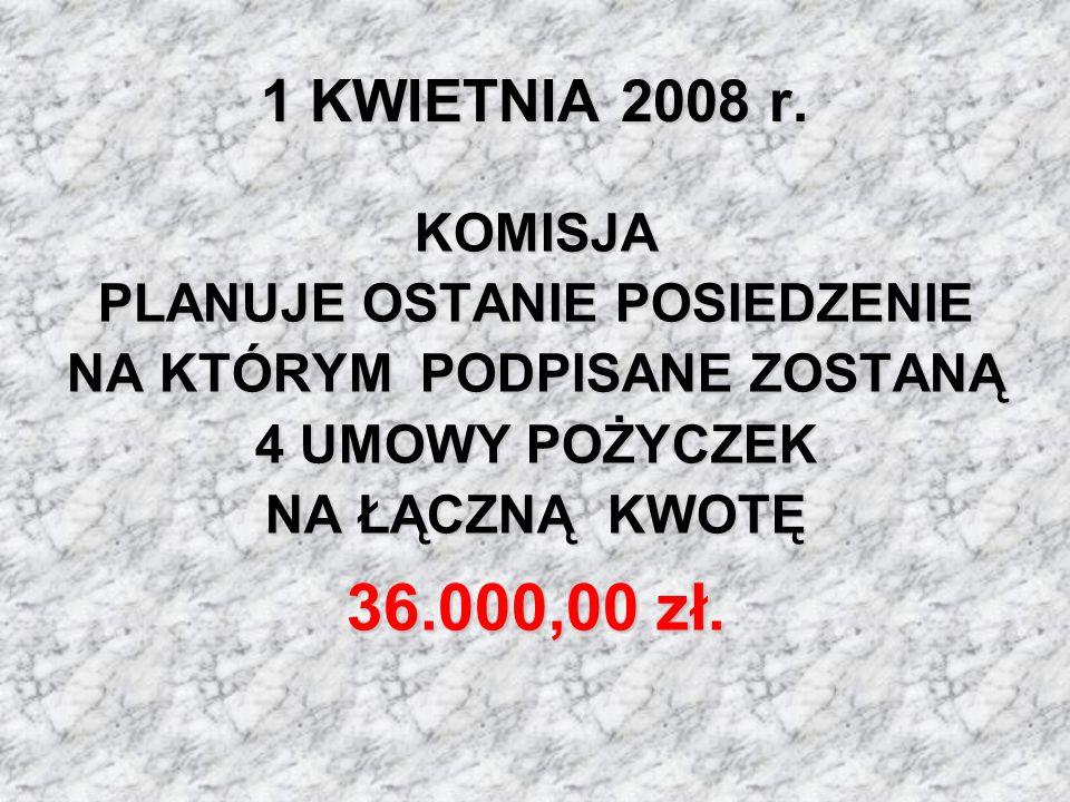 1 KWIETNIA 2008 r. KOMISJA PLANUJE OSTANIE POSIEDZENIE NA KTÓRYM PODPISANE ZOSTANĄ 4 UMOWY POŻYCZEK NA ŁĄCZNĄ KWOTĘ.