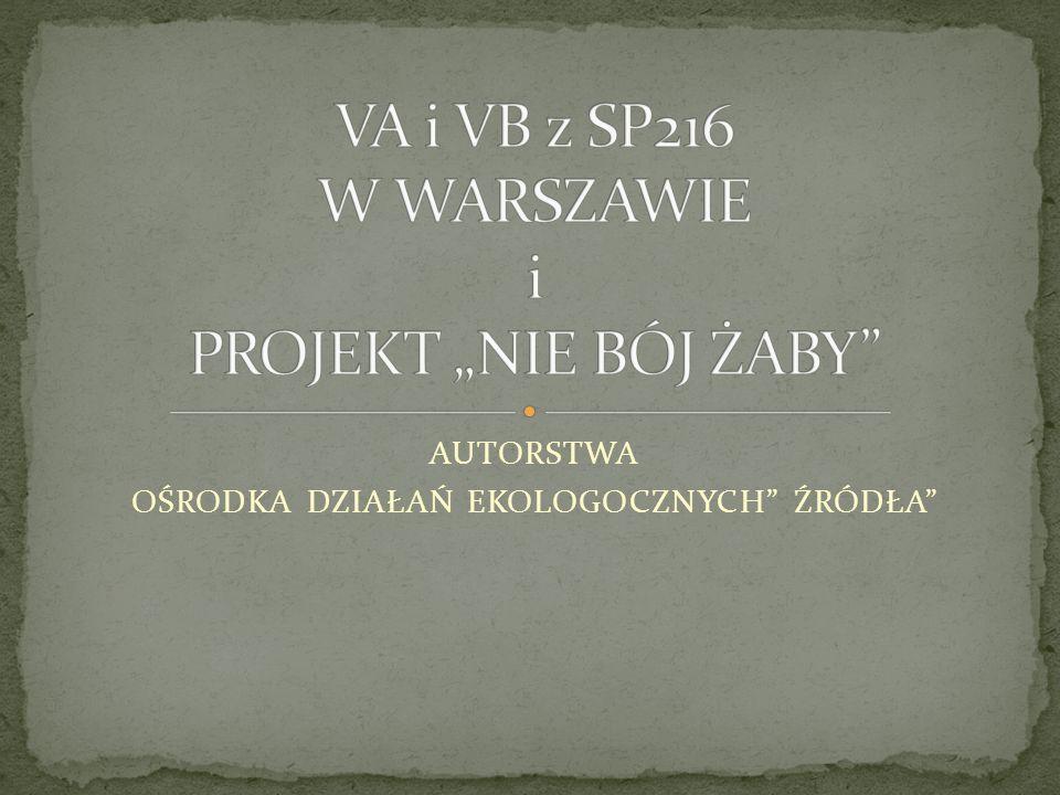 """VA i VB z SP216 W WARSZAWIE i PROJEKT """"NIE BÓJ ŻABY"""
