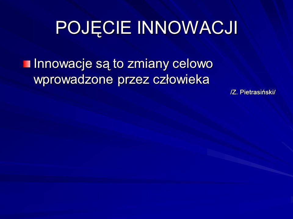 POJĘCIE INNOWACJI Innowacje są to zmiany celowo wprowadzone przez człowieka /Z. Pietrasiński/