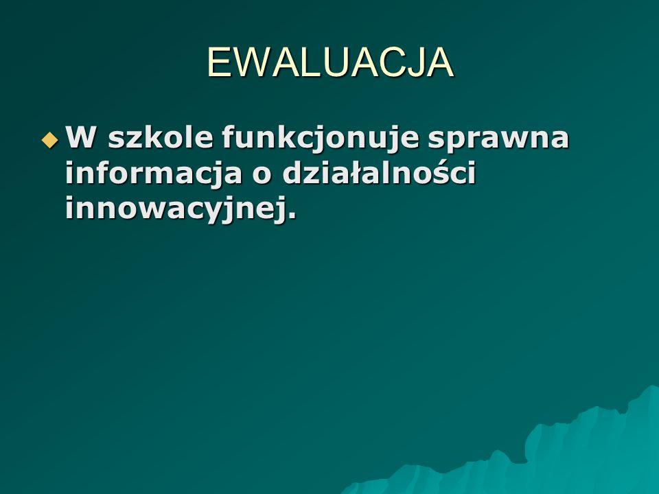 EWALUACJA W szkole funkcjonuje sprawna informacja o działalności innowacyjnej.