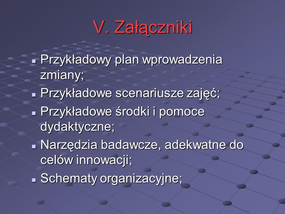 V. Załączniki Przykładowy plan wprowadzenia zmiany;