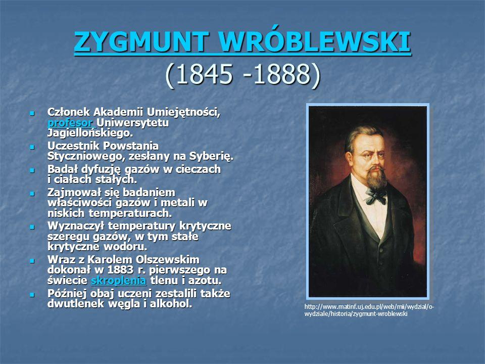 ZYGMUNT WRÓBLEWSKI (1845 -1888)