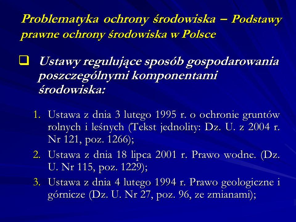 Problematyka ochrony środowiska – Podstawy prawne ochrony środowiska w Polsce