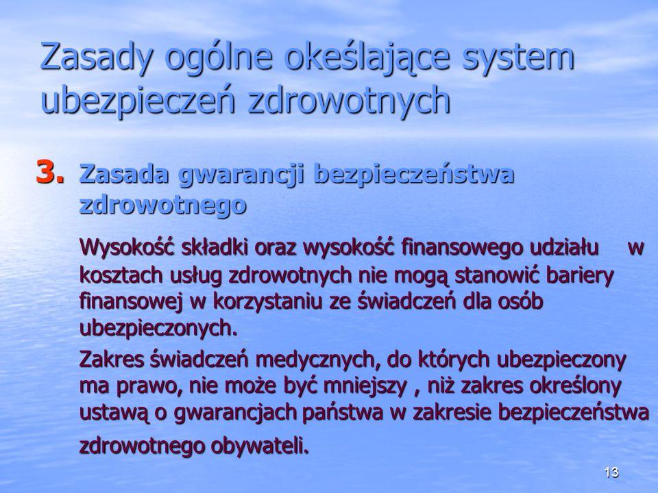 Zasady ogólne okeślające system ubezpieczeń zdrowotnych
