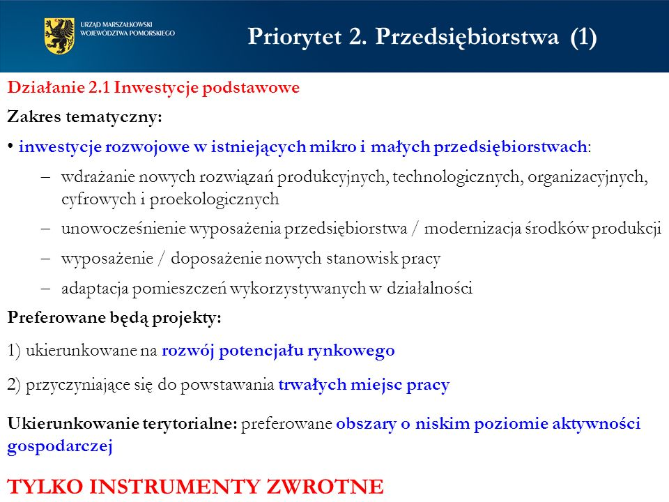 Priorytet 2. Przedsiębiorstwa (1)