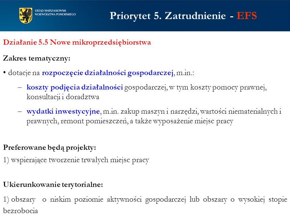 Priorytet 5. Zatrudnienie - EFS